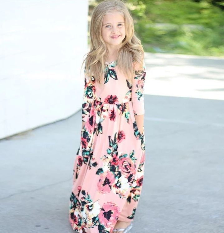 Girls Clothing, Pink and Floral Maxi Dress, Toddler Maxi Dress, Girls Pink and Floral Maxi Dress, Kids Maxi Dress, Pink and Floral - BellaPiccoli