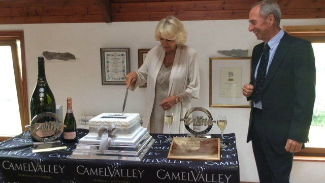 The Duchess of Cornwall at the stunning Camel Valley Vineyard in Cornwall this week. She heartily approved of the wine!