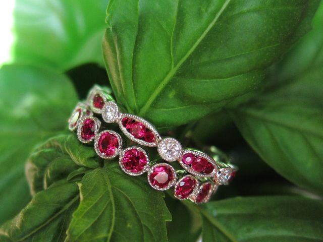 Ruby eternity bands -- magnificent color in the rubies