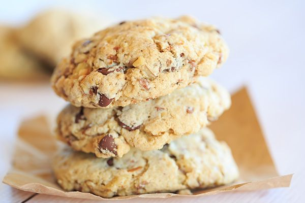 The famous $250 Neiman Marcus Cookie Recipe - made with ground oats, chocolate chips, grated chocolate and walnuts.   http://www.browneyedbaker.com/the-famed-neiman-marcus-cookie/