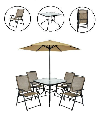 Outdoor Dining Set 6PC Patio Furniture Yard Umbrella Glass Table 4Folding Chairs #Unbranded