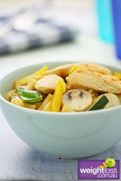 Healthy Pasta Recipes: Sweet Chilli Chicken Mararoni. #HealthyRecipes #DietRecipes #WeightlossRecipes weightloss.com.au