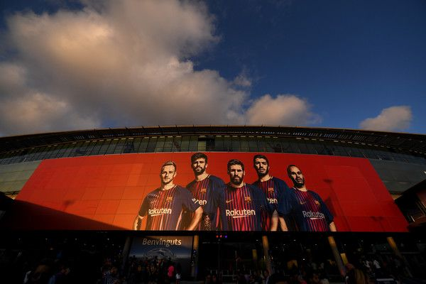 General view outside the stadium prior to the UEFA Champions League Group D match between FC Barcelona and Juventus at Camp Nou on September 12, 2017 in Barcelona.