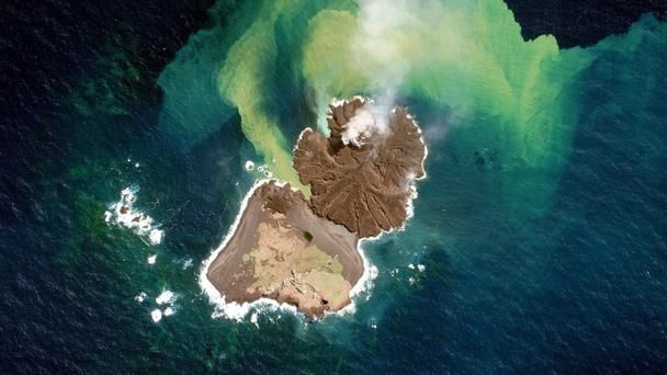 Niijima island merges with Nishinoshima, Japan