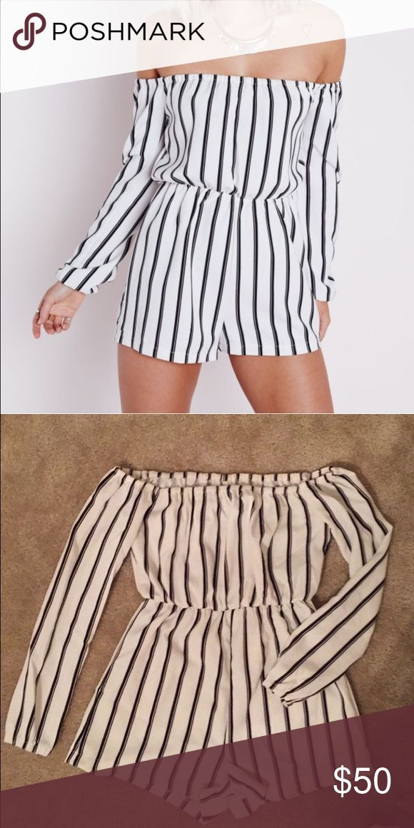 Striped off the shoulder romper I have this in a size 0 (XS) and a 4 (M). Comment which one you're buying :) It cinches at the waist and the sleeves. Tops