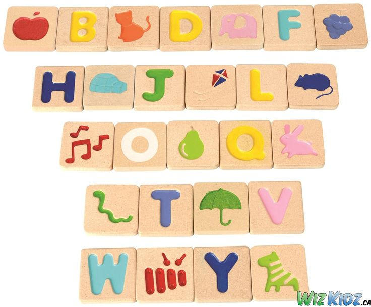 Develop fundamental skills with this alphabet set. The two-sided wooden tiles feature 26 indented capital letters and pictures of objects that correspond to the letter. #kids #education #language