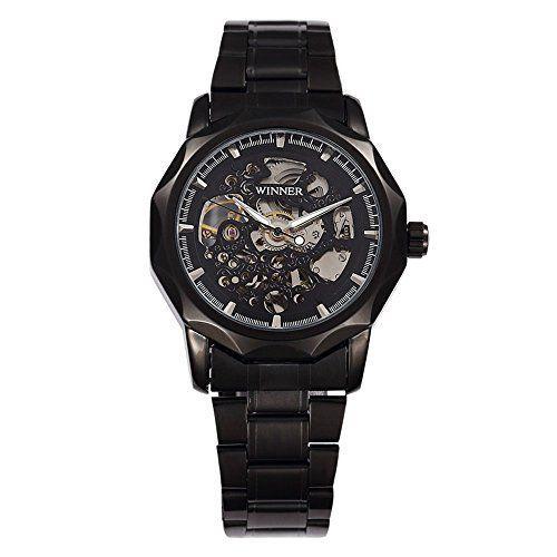 harwish Herren Edelstahl Skelett Aufzieh Mechanische Armbanduhr Schwarz - http://uhr.haus/harwish/harwish-herren-edelstahl-skelett-aufzieh