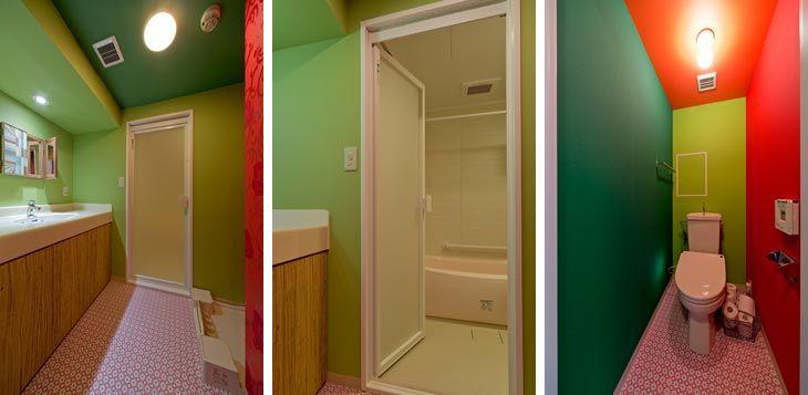 (写真左)基本カラーをグリーンでまとめた洗面所 (写真中)カラフルでお風呂に入るのも楽しくなりそう (写真右)トイレの壁はオレンジ×黄緑×グリーンの奇抜な配色で絵本のような世界に