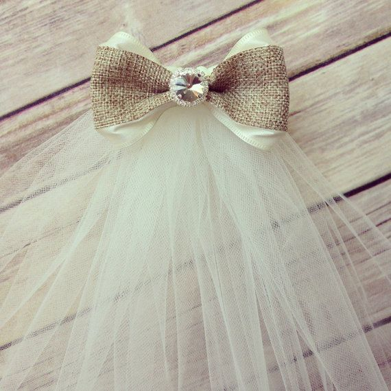 Burlap and ribbon bow veil with rhinestone center- bridal shower/ bachelorette party veil on Etsy, $22.00