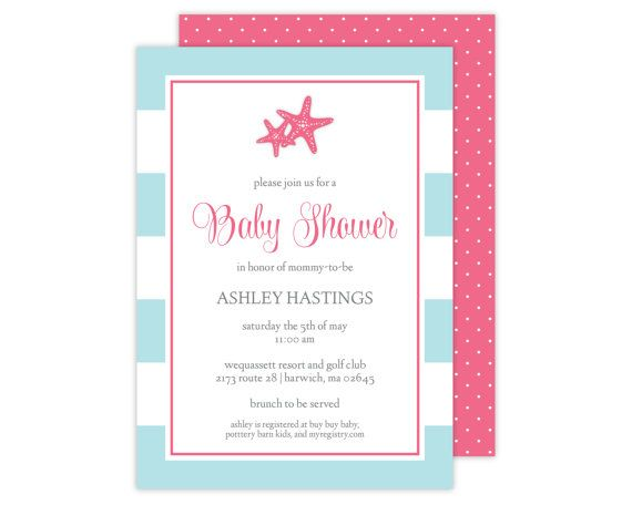 Starfish Baby Shower Invitation // Starfish Party Ideas // Paige Simple //  Www