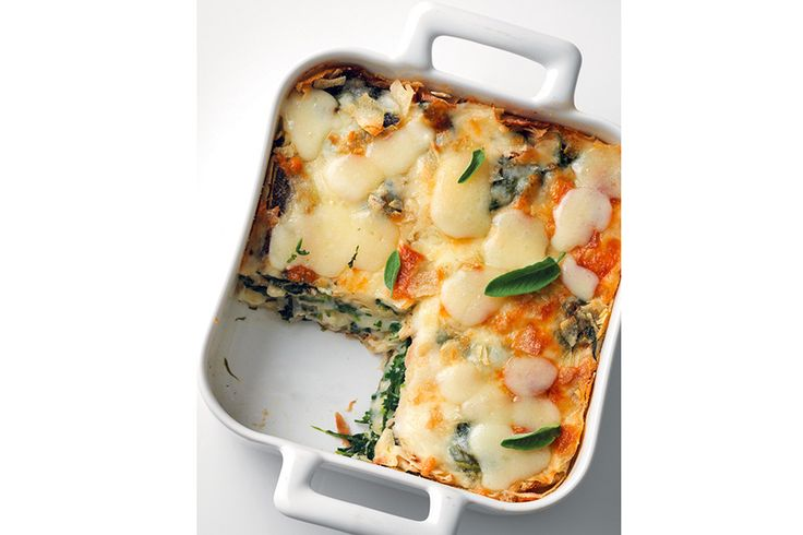 Lasagne di carasau, spinaci e toma