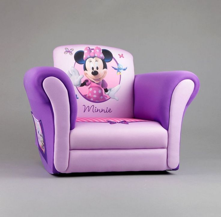Minnie Mouse Upholstered Rocking Chair, Purple Girls Disney Rocker Kids  Bedroom