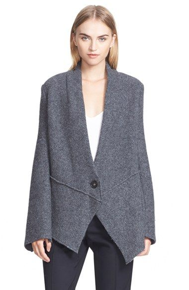 """Free shipping and returns on Stella McCartney Boiled Wool Blend Jacket at Nordstrom.com. <p><B STYLE=""""COLOR:#990000"""">Pre-order this style from the Fall 2015 collection! Limited quantities. Ships as soon as available. You'll be charged only when your item ships.</b></P><br>Angled panels fashion the asymmetrical hemline of this boiled wool-blend jacket for a look that's structured, yet undone. Dropped shoulders and extended flared sleeves further the style's chic nonchalance."""