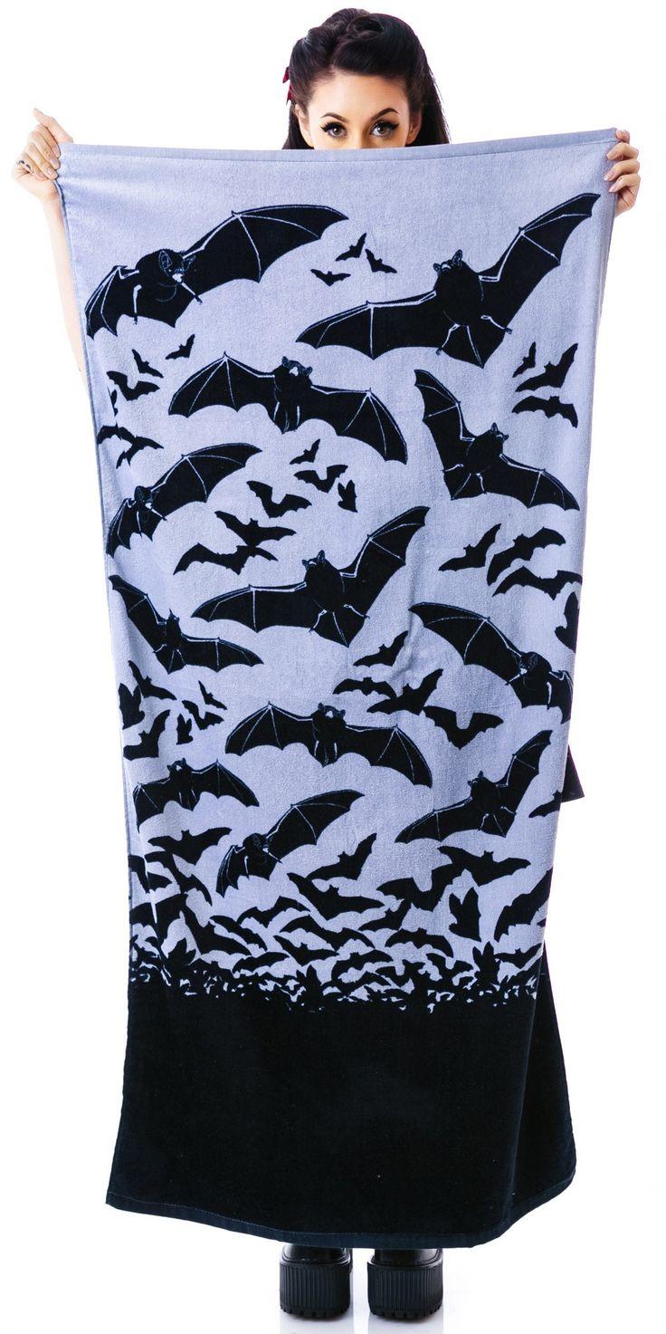 Sourpuss Bats in The Belfry Beach Towel | Dolls Kill - do goths go to the beach? Only gloomy ones