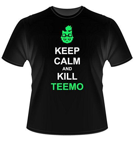 League of Legends-Keep Calm and Kill Teemo LOL T Shirt-Camiseta Para Hombre, Talla XL #camiseta #friki #moda #regalo