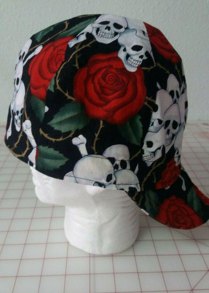 Welders welding biker pipe fitter hat cap Skulls and Roses