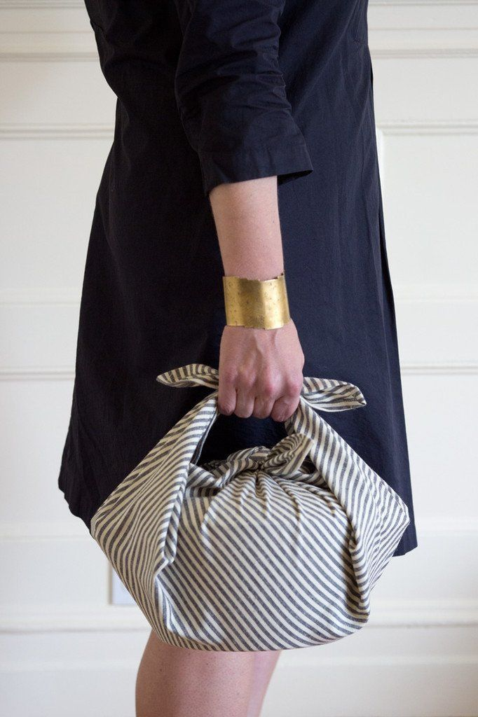 Furoshiki tie to transport meals during the holidays or parties.