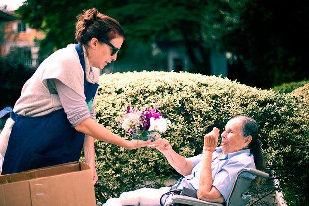 ong reaproveita flores de festa e entrega para idosos em lares.  Flor Gentil