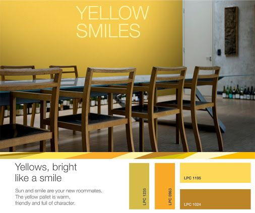 Summer is here! Make the sun and the smile your new roomates! Choose yellow hues from the YELLOW SMILES pallet by ISOMAT and watch your living space glow from the positive energy. Create a warm and friendly atmosphere, full of character! For more creative ideas, useful tips and suggestions for trendy color combinations, visit the ISOMAT COLOR SYSTEM website. http://isomatcolorsystem.eu/