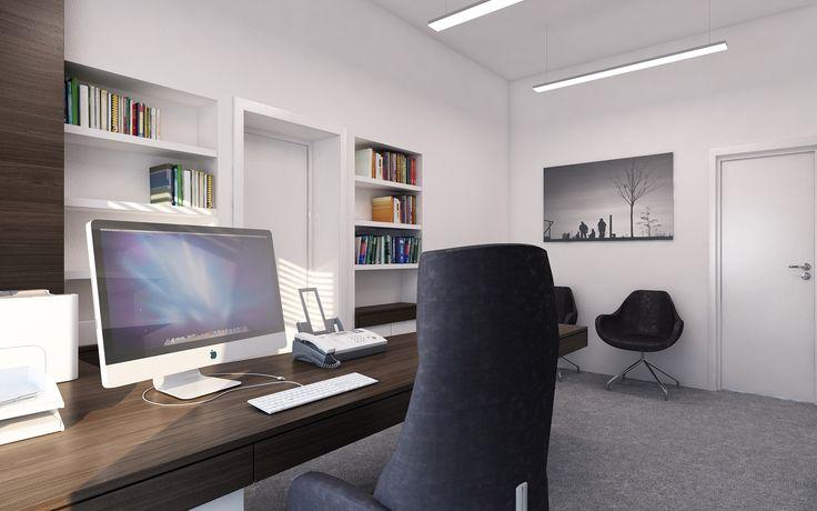 U vchodu do kanceláře sekretářky jsou umístěny židle pro případné čekající hosty a vstup do ředitelovy kanceláře lemují částečně otevřené úložné prostory.