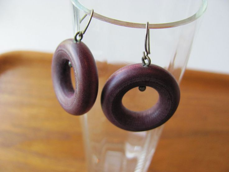 Aarikka Finland  Vintage Earrings Purple Wooden  Circles Dangle #Aarikka