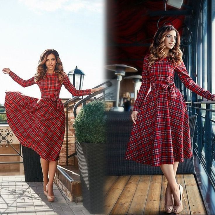 2017 New Autumn Red Plaid Long Sleeve Knee Lenght Dress Women O-neck Bow Casual Dresses Vestidos