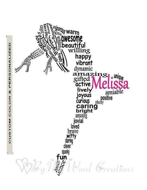 Personalized Lyrical Dancer Word Art Girl by ByMyWordCreations