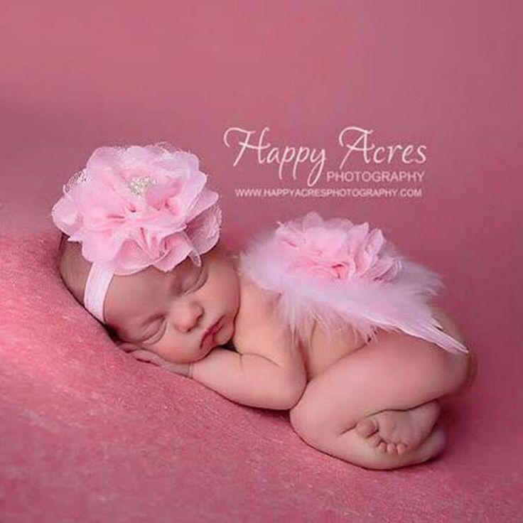 Novorozená Fotografie rekvizity Kojenecká dítě Girls Pink Anděl Feather Wings Květinové obloukem fotografie Prop Wings vlasové doplňky-in Klobouky & čepice z matky a děti na Aliexpress.com | Alibaba Group