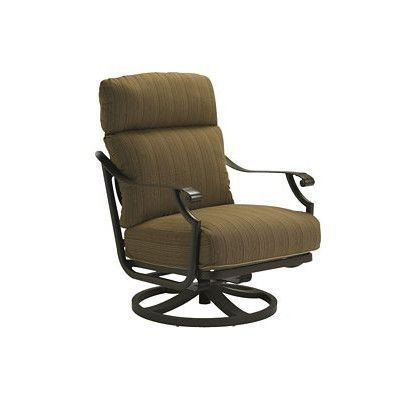 Tropitone Montreux Swivel Action Rocking Chair with Cushions Finish: Graphite, Fabric: Sparkling Water