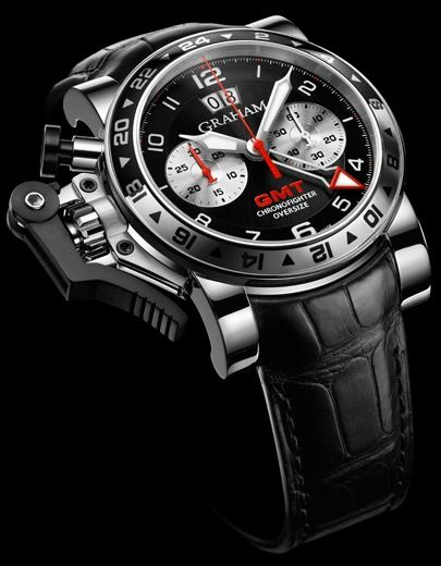 Graham Chronofighter Oversize GMT Black Steel Watch   graham  www,ChronoSales.com for all your luxury watch needs, sign up for our free newsletter, the new way to buy and sell luxury watches on the internet. #ChronoSales