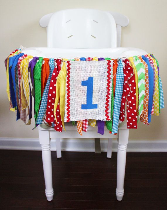Add a special touch to your 1st Birthday Party with a Highchair Garland from My Little BooBug. This would be perfect for a Carnival, Circus, Rainbow, Primary colors, country fair Party!