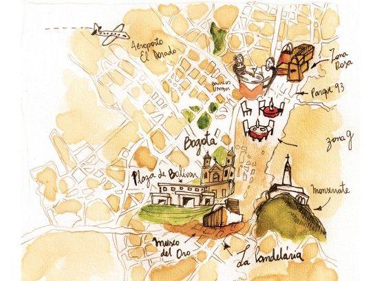 bogota, columbia illustrated map