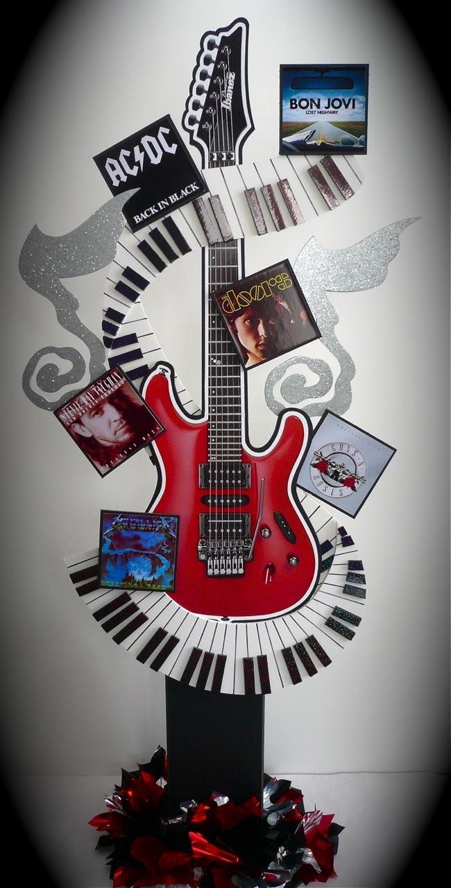 Rock Star Guitar Centerpiece For A Placecard Table Or