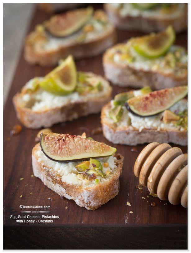 Fig, Goat Cheese, Pistachios with Honey - Crostinis   TeenieCakes.com @Cristina · Teenie Cakes
