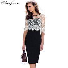 Güzel-sonsuza kadınlar vintage elbise ofis elbiseler Sonbahar siyah Yarım Beyaz Dantel Kollu bodycon Fermuar Geri kalem elbise çalışmak 935(China (Mainland))