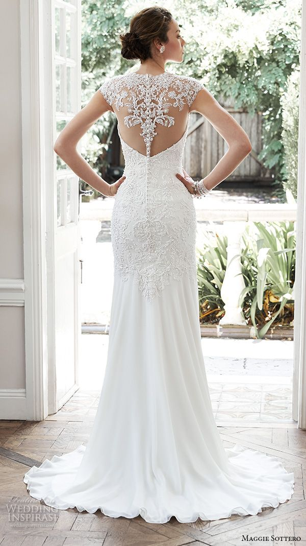 MAGGIE SOTTERO #bridal fall 2015 #wedding dresses beautiful sheath gown illusion sweetheart neckline cap sleeves embroidered bodice pearl crystals tenley back