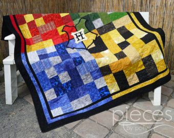 Harry Potter Inspired Hogwarts House Quilt FREE by PiecesByPolly