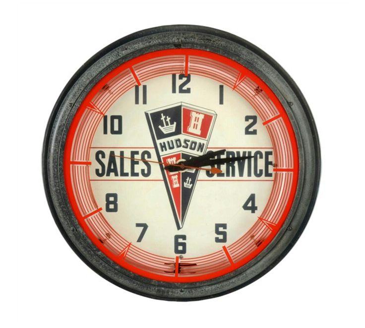 Original Hudson Sales & Service Neon Clock Advertising