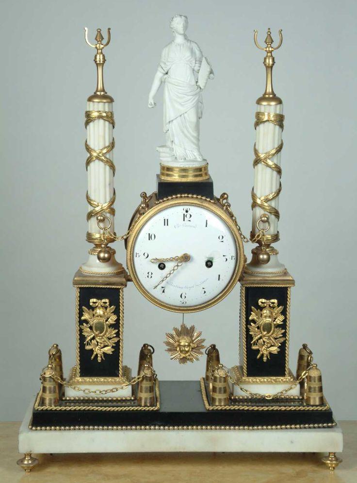 ** French Circa 18th C Louis XVI Antique Mantel Clock 1790