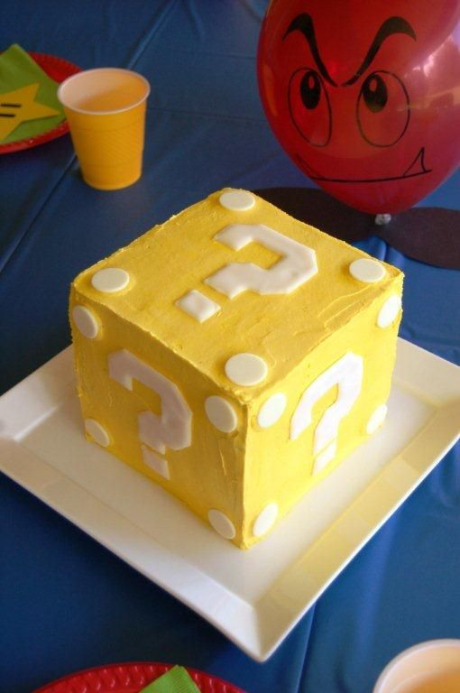Super Mario Item Block cake Looks like something I could try for Matthew's 3rd Birthday.