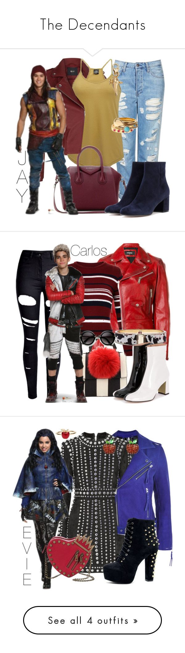 """The Decendants"" by shrimp492 ❤ liked on Polyvore featuring Maje, Topshop, Angie, Diane Von Furstenberg, Disney, Givenchy, Gianvito Rossi, disney, disneybound and Dsquared2"