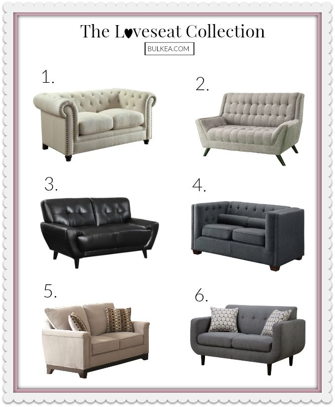 Cozy up with our Loveseat collection and enjoy the perfect piece of furniture for a living room. Which numbers are your favorite? Loveseats listed: 1 - Coaster Trivellato Oatmeal Linen Loveseat 2 - Coaster Natalia Contemporary Love Seat 3 - Coaster Leskow Mid Century Modern Loveseat 4 - Coaster Cairns Upholstered Loveseat 5 - Coaster Mason Velvet Love Seat 6 - Coaster Stansall Modern Grey Fabric Loveseat. We exclusively serve Los Angeles County. See www.bulkea.com for more details