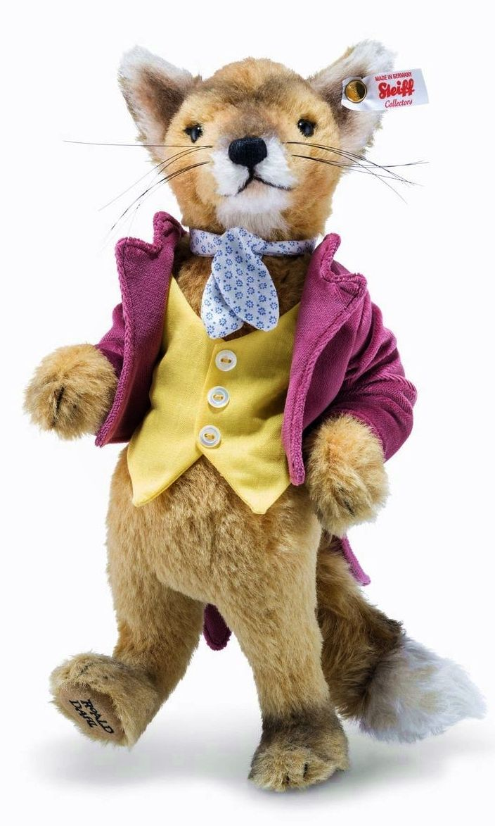 """11.5"""" stuffed cloth Fantastic Mr. Fox animal toy, based on the Roald Dahl children's book character of the same name, made in an edition of 1,916 pieces, Germany, 2017, by Steiff."""