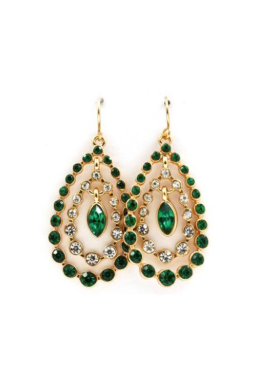 Beverly Teardrop Earrings in Emerald