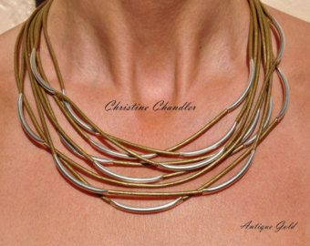 Pearl and Leather Necklace Multi Strand by ChristineChandler