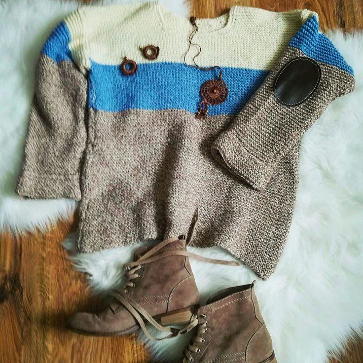 Older work from leftover wool# handmade# knitting#