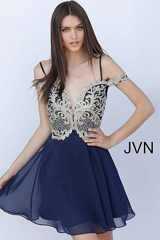 2303529463 Navy Off the Shoulder Embroidered Bodice Homecoming Dress JVN62322 ...