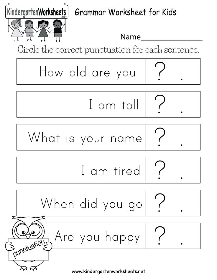 Kid Are Asked To Circle The Correct Punctuation For Each Senten