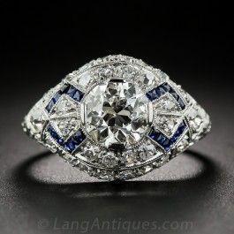 1.23 Carat Diamond Art Deco Engagement Ring with Calibre Sapphires - Vintage Diamond Engagement Rings - Vintage Engagement Rings