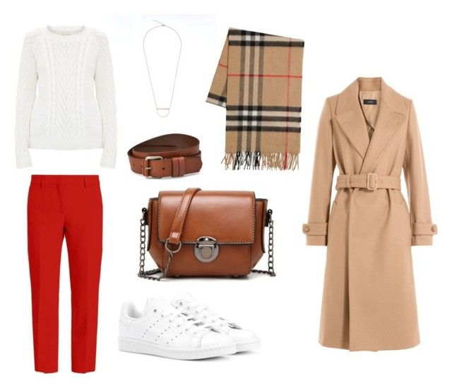 Fall outfit: white knit jumper, red pants, white sneakers, beige wool coat